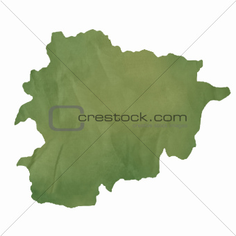 Andorra map on green paper