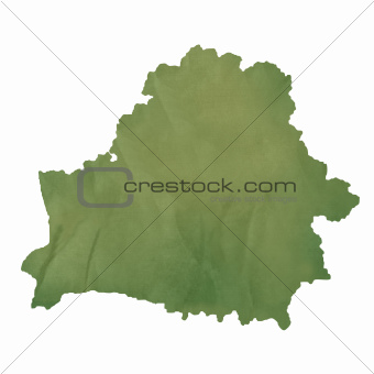 Belarus map on green paper