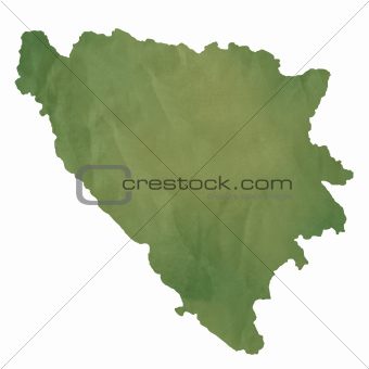 Bosnia and Herzegovina map on green paper