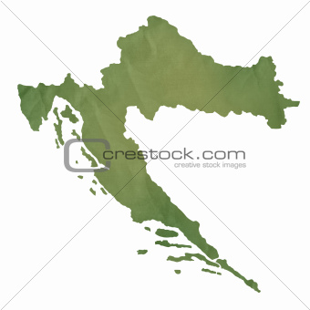 Croatia map on green paper