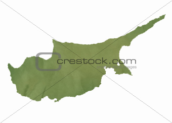 Cyprus map on green paper