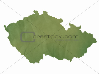 Czech Republic map on green paper