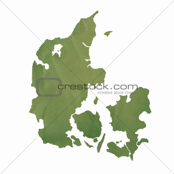 Denmark map on green paper