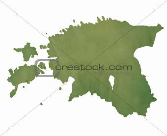 Estonia map on green paper