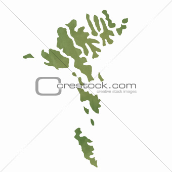 Faroe Islands map on green paper