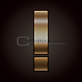 Letter metal gold ribbon - Exclamation mark