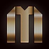 Letter metal gold ribbon - M