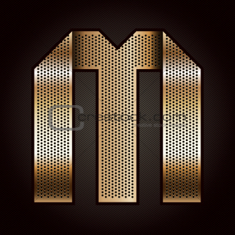 Letter metal gold ribbon - M