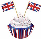 United Kingdom England Cupcake with Flag Illustration