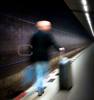 Man in subway station