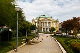 Kasalisni Park and Theater Building with Pillars in Rijeka, Croa