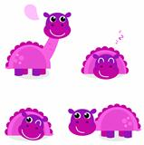 Cute pink dinosaur set isolated on white