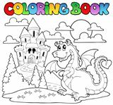 Coloring book dragon theme image 1