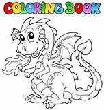 Coloring book dragon theme image 2