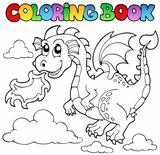 Coloring book dragon theme image 3