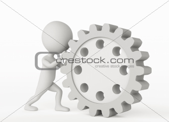 3d humanoid character pushes a gear