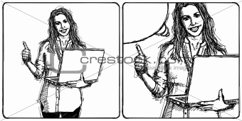 Sketch female with laptop shows well done