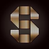 Letter metal gold ribbon - S