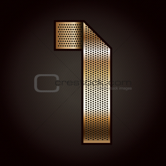 Number metal gold ribbon - 1 - one