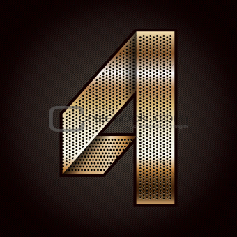 Number metal gold ribbon - 4 - four