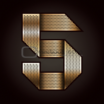 Number metal gold ribbon - 5 - five