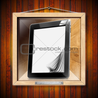 Concept of Modern Library - Tablet computer with pages
