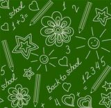 Back to school chalk-drawn seamless pattern