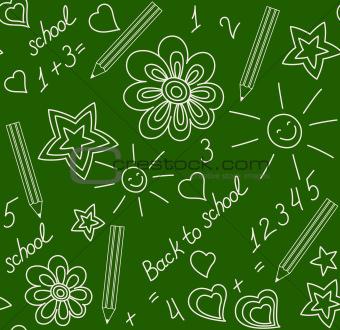 Back to school chalk-drawn seamless pattern