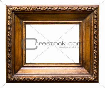 Old golden retro mirror frame, isolated on white