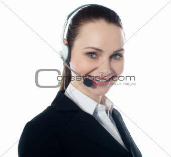 Call centre female executive, closeup