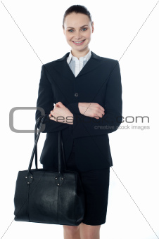 Coporate lady holding a handbag