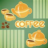 coffee cups, coffee pot and coffee beans