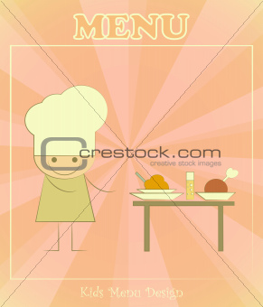 Design of kids menu with chefs and served table