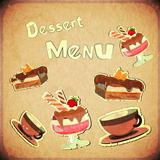 Vintage Cover Cafe or confectionery  dessert  Menu