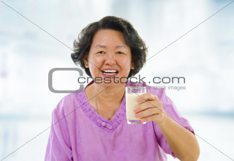 Healthy Senior Asian and soy milk