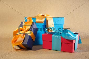 three colour gift boxes