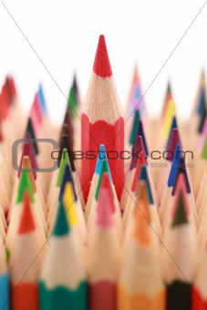 Red crayon standing out from the crowd