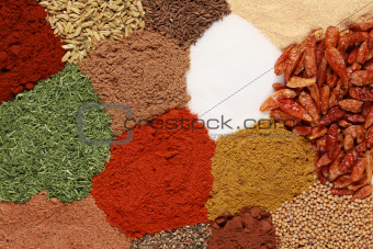 Spices forming a background