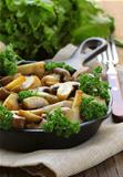 grilled field champignon mushrooms with parsley