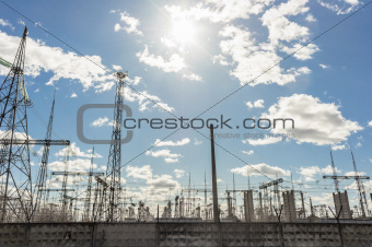 High voltage electrical  towers against sky