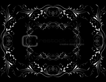 Abstract white floral ornament on dark background