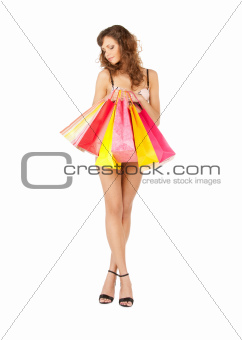 woman in sexy lingerie with shopping bags