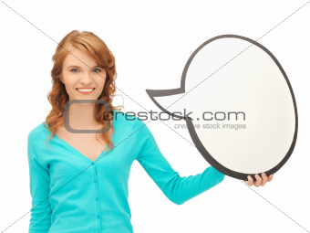 teenage girl with blank text bubble