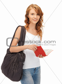 teenage girl in blank white t-shirt with book
