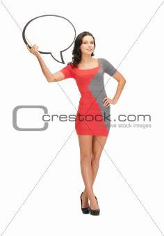 woman with blank text bubble