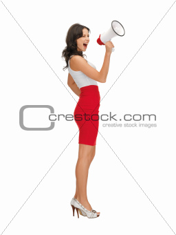 angry woman with megaphone
