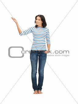 woman in casual clothes showing direction