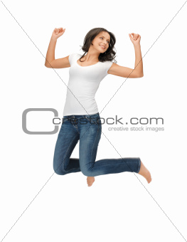 jumping woman in blank white t-shirt
