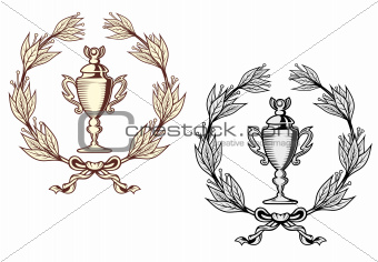 Sport trophy with laurel wreath
