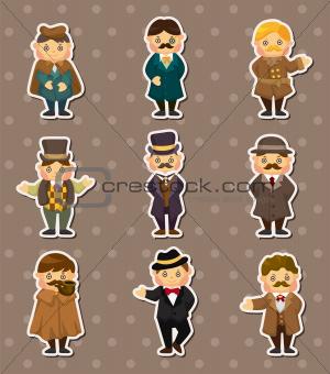 cartoon retro gentleman stickers